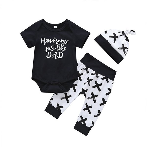 good quality New fashion Baby Boy Clothes Set Bebe Summer Cotton 3pcs set Kids Toddler black letter print T-shirt+ Pants+hat Set