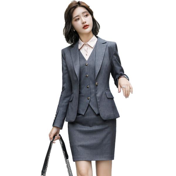 Fall Winter Formal Fashion 2 Pieces set Grey Blazer Women Business Skirt Suits Elegant Office Uniform Designs OL Style Work