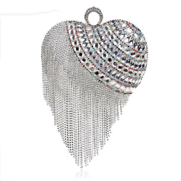 Heart Finger Ring Diamonds Evening Bag Christmas Gift Handbag Crystal Tassel Beaded Day Clutch Purse Evening Bag