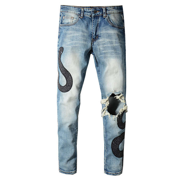 New Style Men's Distressed Embroidery Snakes Pants Broken Patches Washed Blue Skinny Robin Jeans For men Slim Trousers Plus size 28-40
