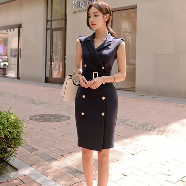 2019 Women Summer Office Slim Double Button Sexy Korean Fashion Style Dress Lady Belted Vestidos Sleeveless Work Wear Clothes