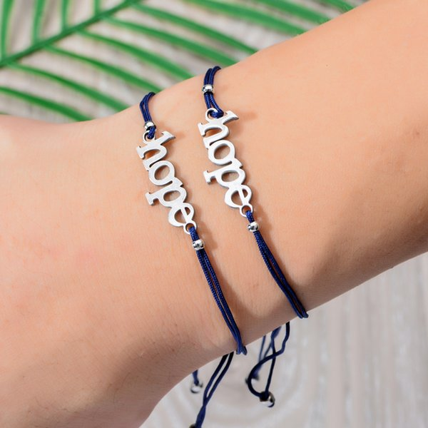 Make a wish Paper Card Handmade Woven Rope Chain Bracelet Adjustable Hope Friends Charms Bracelet for Women Couple Jewelry