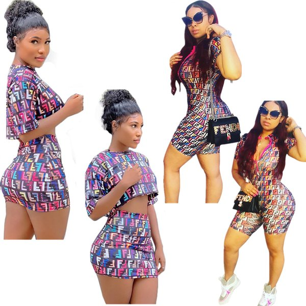 Women FF Tracksuit Summer Short Sleeve T-shirt + Skirt 2 Piece Set Fashion Letter Printed Rompers Jumpsuits Bodysuits Women's Clothes A41103