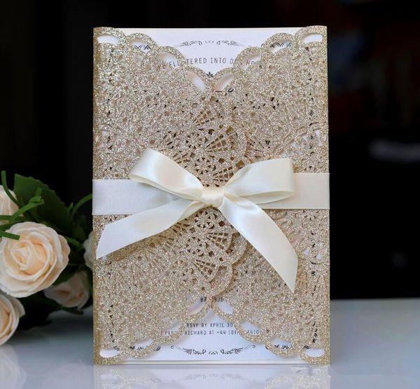 Yeni Varış Şampanya Altın Glitter Lazer Kesim Davetiye Kartları Için Bordo Kurdele Ile Düğün Gelin Duş Nişan Doğum Günü Mezuniyet