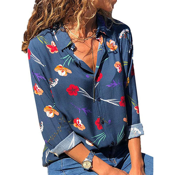 2018 Autumn Women Casual Long Sleeve Blouse Floral Print Shirts Turn-down Collar Blouse Shirt Elegant Button Top Chemise Femme