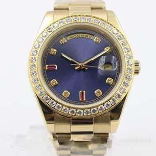 Superlative Chronometer automatique Men \ »; S Wristwatch pleine or jaune Ceinture visage bleu avec le calendrier déployante Montre Homme
