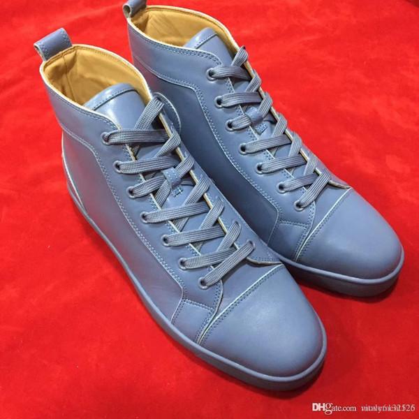 Nouveau mode Luxe 2019 Hommes Rouge Bas Sneaker Louisfalt Party Chaussures de mariage en cuir véritable Spikes Chaussures à lacets Casual