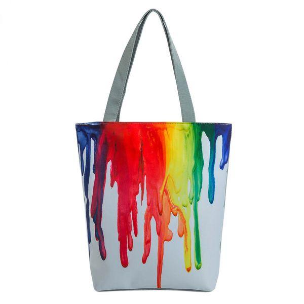 Fashion beautiful style daily national wind canvas handbag casual beach bag ladies paint pattern handbag Dropship Y502
