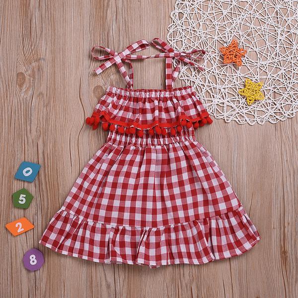 2019 ins verão meninas meninas vermelho branco doce senhora vestido de manta ruffled suspender saia vestido de princesa barato