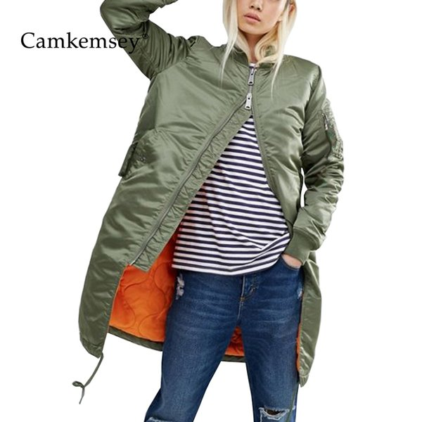 Camkemsey Winter Coat Women Spring Autumn Long Sleeve Casual Military Army Green Thin Bomber Jacket Female Outwear Y190827
