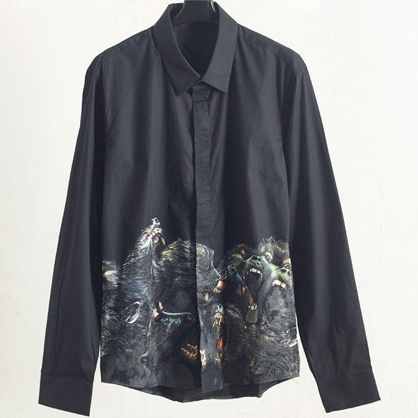 top popular Fashion Mens Stylist Long Sleeve Shirts Black Dog Head Print Spring Autumn Shirts Solid Color Men High Quality Shirts T Shirt 2020