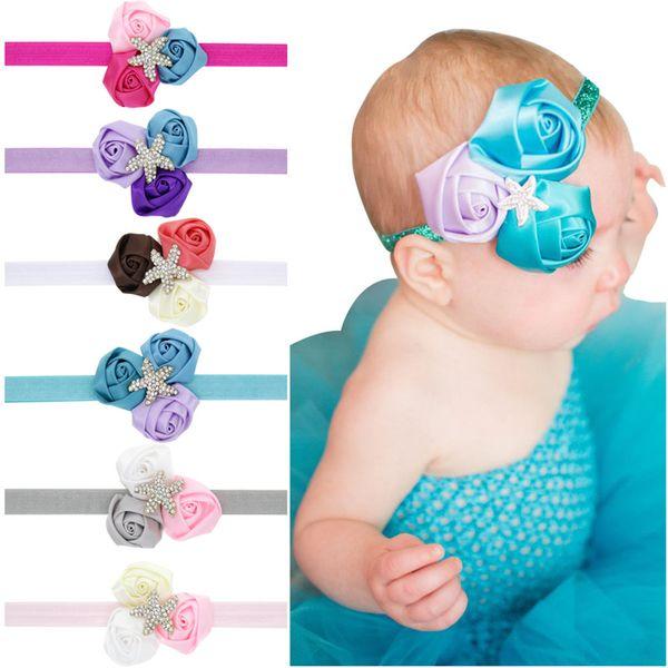 Baby Headbands Princess Flower headbands kids starfish Rhinestone Headwear Newborn infants Hairbands Children hair accessories KHA707