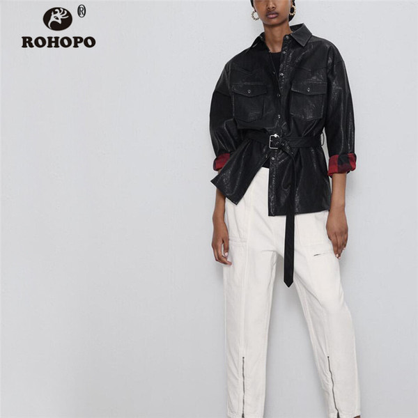 rohopo fake leather belted motor belted black trench coat plaid lining big pockets cargo straight autumn outwear #9571