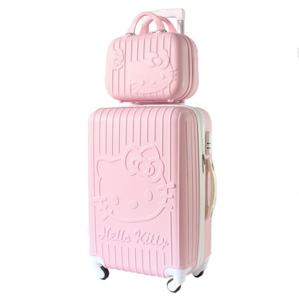 Bonjour kitty Valise de voyage avec roulette Bagage à roulettes Valise Trolley Femme Etui à cosmétiques Bagage à main Sacs de voyage