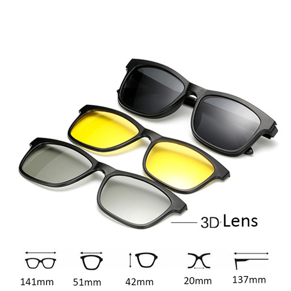 New 5 lenes Magnet Sonnenbrillen Clip gespiegelt Clip auf 3D Sonnenbrillen auf Brille Männer Polarisierte Clips Custom Prescription Myopie