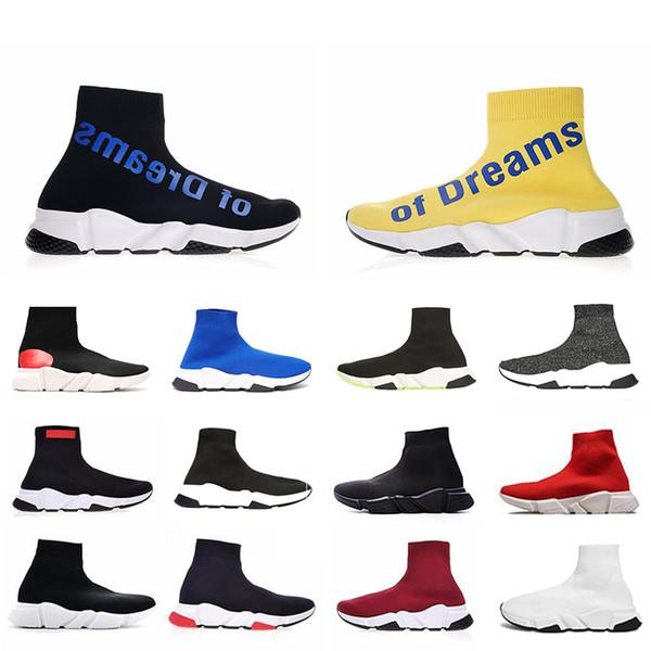 2019 Luxo De Sonhos Designer casual meia Sapatos Speed Trainer Preto Vermelho Triplo Preto Moda Meias Sapatilha Trainer meias sapato 36-45 n01