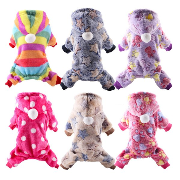 Rainbow Style Cute Dog Hoodie Sweet Pet Clothes Soft Cozy Fleece Warm Winter Sweater For Small Dogs Jumpsuit 6 Color Selection