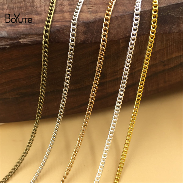 wholesale (100 Meters/Lot) Metal Iron 1.7MM Width Tassel Chain Bronze Gold Silver Plated Diy Hand Made Chain for Jewelry Making
