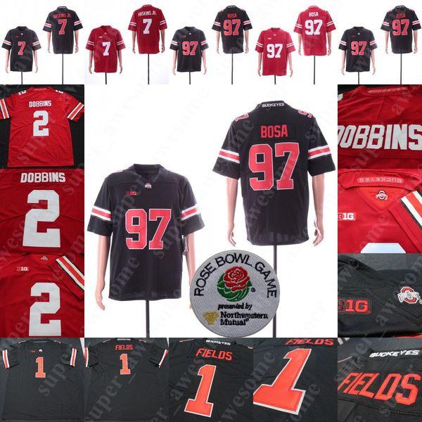 1 Justin Fields Ohio eyaleti Buckeyes Jersey 2 J.K. JK Dobbins 7 Dwayne Haskins Jr. Jr 97 Nick Bosa Futbol Formaları Kırmızı Beyaz Siyah