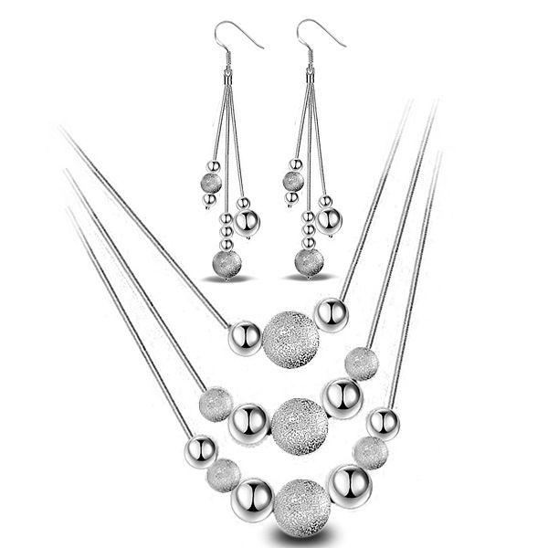 Personalità del commercio all'ingrosso ragazza gioielli Beads bianchi Donna del partito di moda 925 Sterling Silver Stud Earrings + Necklace Set SE02