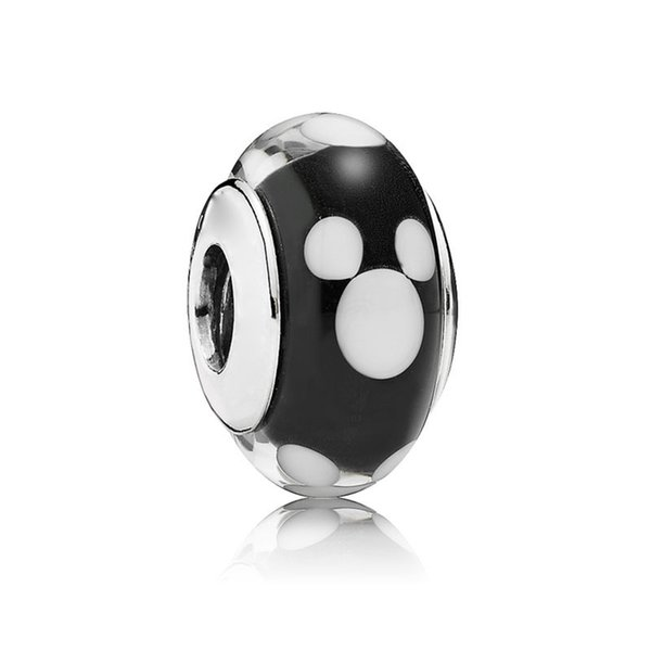 5pcs S925 Sterling Silver Threaded Screw Classic Mickey Murano Glass Beads Fit Pandora Charm Jewelry Bracelets & Necklaces