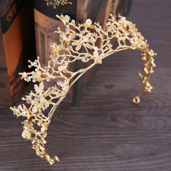 Princesa nupcial coronas de cristal de oro elegante de la boda tiaras rhinestone plantas barato venta caliente de la boda accesorios para el cabello 2019