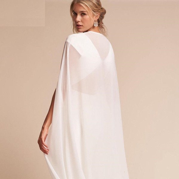 New Bridal Wraps Chiffon Bridal Cloak Jackets Sweep White Wedding Shrugs Special Occasion Wedding Coats Fast Shipping