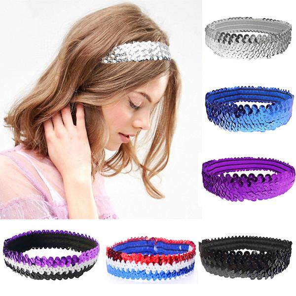 Mädchen Pailletten Glitter Stirnbänder Kinder Bling Haar Sticks Shiny Stirnband Sport Tanz Headwrap Führen Bühne Haarschmuck TTA943