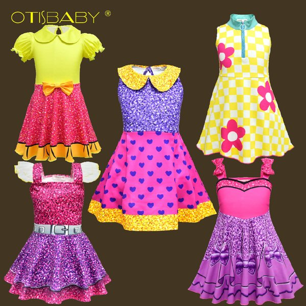 Wholesale Lot 2-10 Year Children Lol Clothes Child Rainbow Lol Costumes For Girls Princess Birthday Party Holiday Lol Girl Dress MX190724