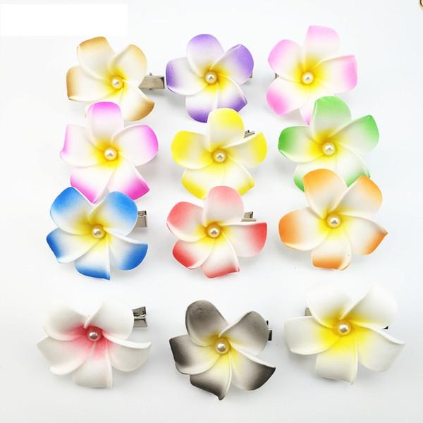 sale 4cm mixed color Foam Hawaiian Plumeria flower Frangipani Flower bridal hair clip butterfly hair clips hair pin 60pcs