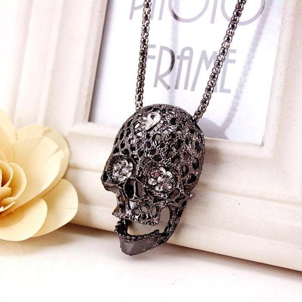 Collier en métal avec tête de mort - Colliers en argent, noir et argent pour hommes - Chaîne de chandail long pour femmes