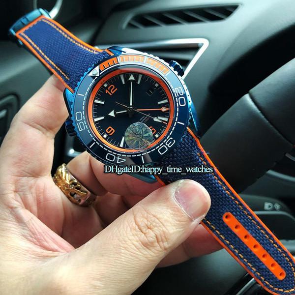 Melhor Versão Novo 44mm Oceano 215.92.46.22.01.001 Cerâmica Caso Azul Relógio Automático de Movimento Mens Watch Blue Nylon Strap Mens Sports Relógios