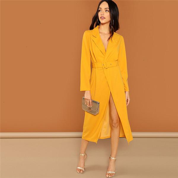 Ropa de las mujeres del vestido del verano fin de semana Casual Streetwear jengibre abrigo de la cintura cuello asimétrico sólido Maxi vestido de otoño elegantes vestidos de las mujeres