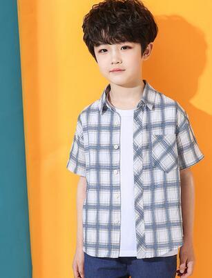2019 Новая весенняя мода для детей Большая решетка с бахромой с коротким рукавом Фу