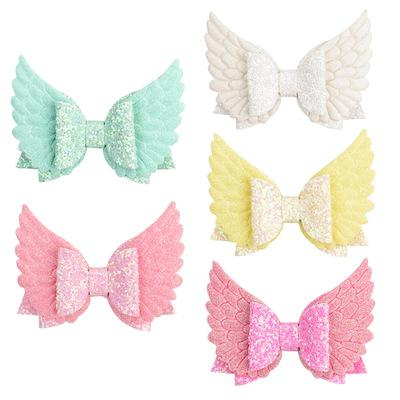 Children's Girls Hairpin Angel Wings Glitt Double Children's Sequins Wings Hair Accessories Bow Hair Clips Barrettes