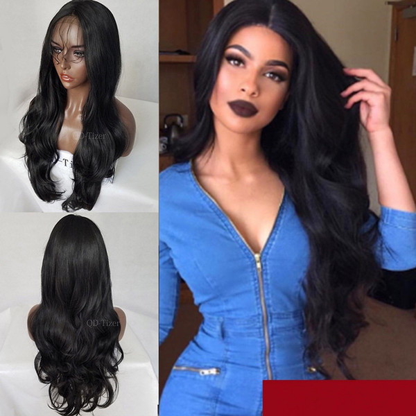 high-quality popular lady temperament centre-parted wavy long hair fluffy black curly wig front lace chemical fiber hair wig
