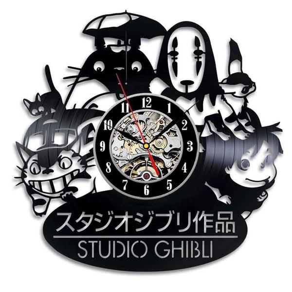 Studio Ghibli Anime Disque Vinyle Horloge Murale Décorer La Maison Décor À La Main Art Personnalité Cadeau (Taille: 12 pouces, Couleur: Noir)