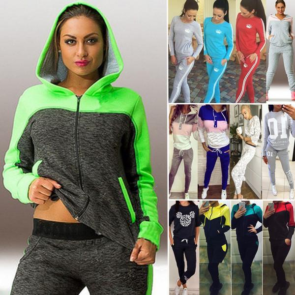 2Pcs Womens Tracksuit Hoodies Sweatshirt Pants Sets Casual Sport Pullover Suit