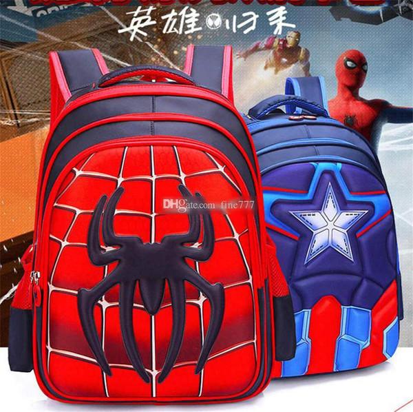 Mochila para niños Mochila para niños Mochila escolar Alumno Capitán América Spider-Man Bolsas para niños de dibujos animados Mochila para niños Mochila escolar de nylon impermeable