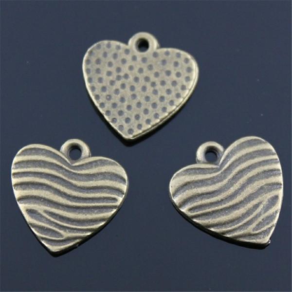 150pcs charme coeur coeur vintage charmes pendentif pour fabrication de bijoux bronze antique couleur coeur charmes 15x16mm