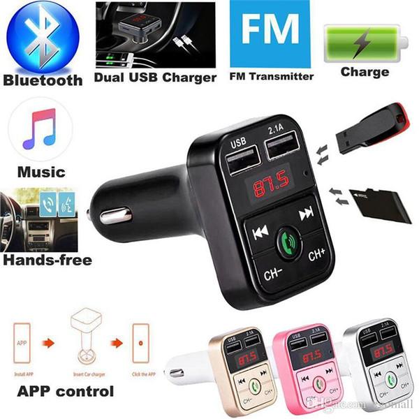 Kit Bluetooth Transmisor FM Manos libres para el automóvil Car Styling reproductor de música MP3 TF Flash Music 5V 2.1A USB cargador 12V-24V modulador de FM