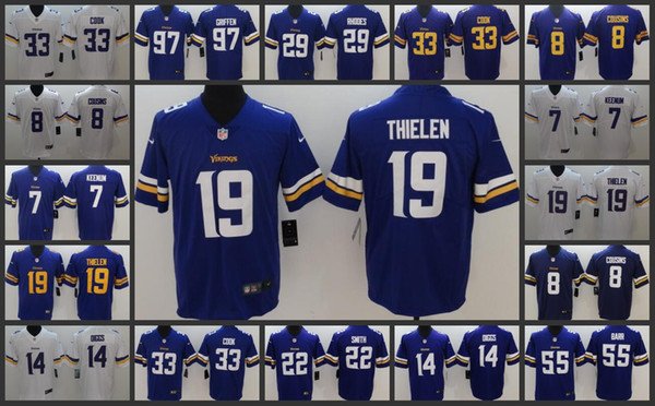 lowest price 4bf54 bc5b9 2019 Minnesota Vikings Playey Jersey Men #8 Kirk Cousins 19 Adam Thielen 33  Dalvin Cook 14 Stefon Diggs Women Youth Limited Jerseys From ...