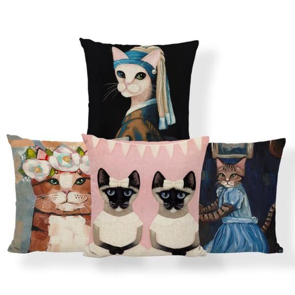 Pittura a olio Cute Cat Cuscino divano-letto Casa Moda Decorative Throw Pillow federa copertura della sedia Cuscini di Natale