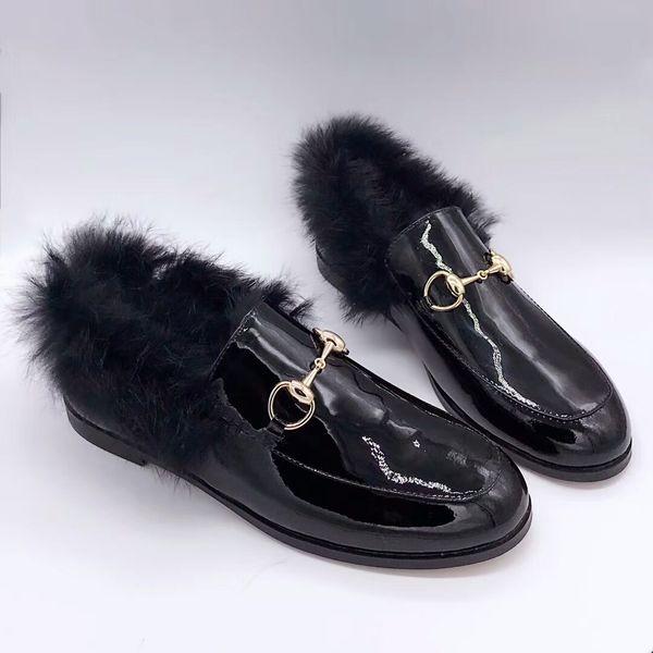 Femmes Hommes luxe robe cuir mocassins Flats velours Princetown avec des mocassins de mode concepteur mens fourrure avec boucle en métal horsebit sh fourrure chaude