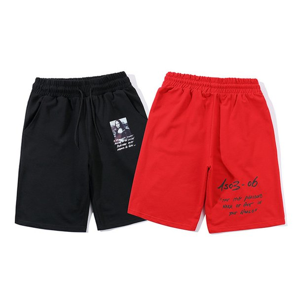 Mona Lisa Print Mens Shorts Summer Designer Black Drawstring Sports Short Pants Fashion Running Male Shorts