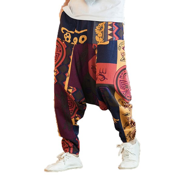 Summer Men Flower Pants Men Print Cotton Linen Trousers Male Harem Pants Man Loose Chinese Style Beach