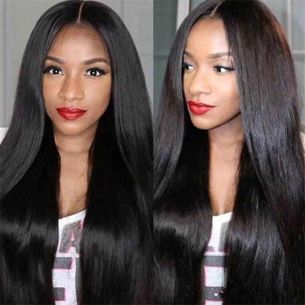 Caliente Barato Pelucas de pelo de Alta calidad Largas y rectas Pelucas negras Pelo sintético Resistente al calor Envío gratis