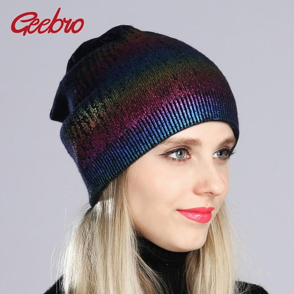 geebro new women's bronzing and silver beanies pompom hat spring wool knitted hats ladies metal multicolor beanie cap dq180