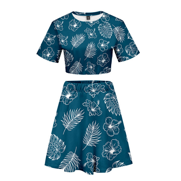 Leaf Nature Short skirt suit Hot 2 Short Sleeve T-shirt and dress suit Two Piece High Quality Young style Casual New Kpop Set