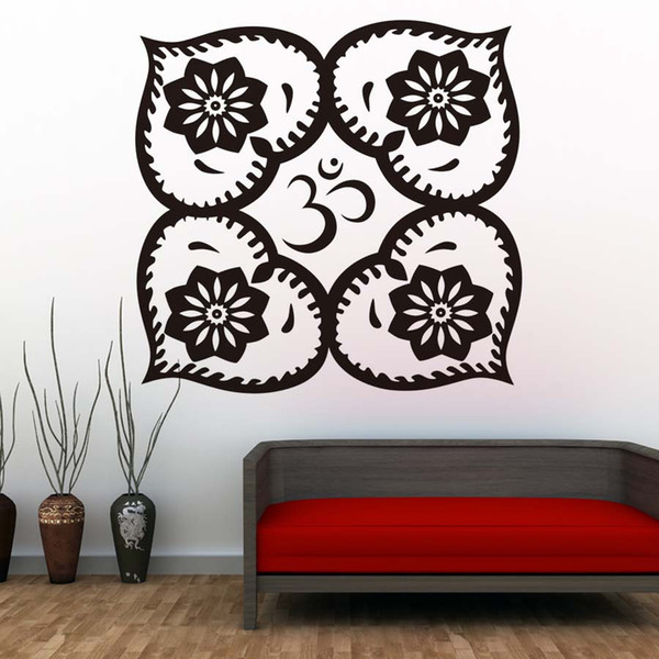 1 Pcs Mandalas Flowers Wall Stickers Creative Hearts Design Art Wall Decal Vinyl Removable Wallpaper For Bedroom Home Decor